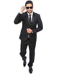 Slim Fit Men Suit Tuxedo Black 2 Button Satin Collar Flat Front Pants