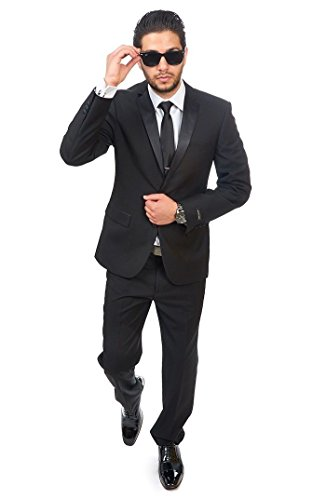 AZAR MAN Slim Fit Men Suit Tuxedo Black 2 Button Satin Collar Flat Front Pants (38 Regular 32 Pants)