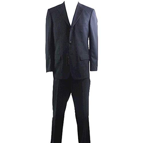 (Valentino Men's 3-Buttons 2-Back Vent Black Wool Suit Sz: 46)