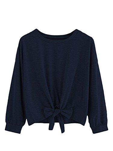 Romwe Women's Cute Knot Front Drop Shoulder Sweatshirt Plain Round Neck Long Sleeve T-Shirt Crop Top Blouse Navy XL ()
