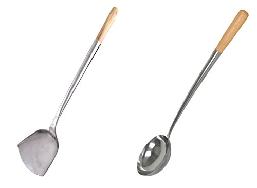 Home Use Stainless Hand-Tooled Chuan & Hoak (Spatula & Ladle) Set (M, 18.5