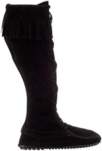 70s 80s Vtg rare Suede Leather Side Lace Up Fringe Moccasin Knee High Boots by Minnetonka USA made Hippie Boho NWOB sz 8 8.5 EU 38.5 39