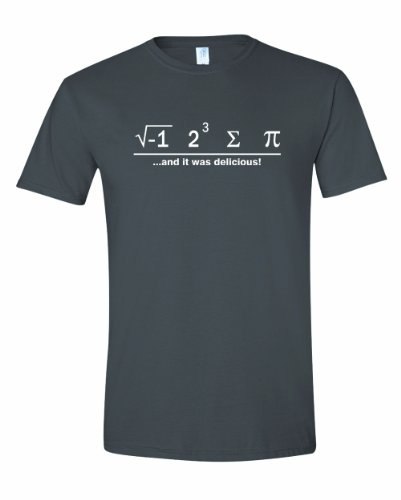 Men's I Ate Some Pie And It Was Delicious Math Ate Sum Pi T-Shirt-Charcoal-Medium (Nerd T Shirts)