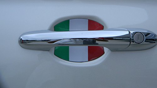 Fiat 500 Italian Flag Car Auto Door Handle Trim Molding Scratch Protector 2 Door Pack