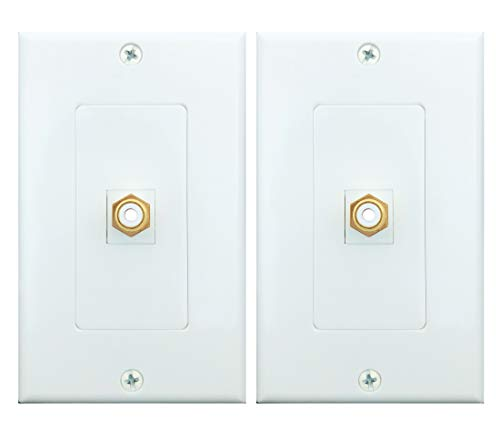 (RCA Wall plate, Single RCA Keystone Insert with White Center Jack Wall Plate for Subwoofer,Stereo Receiver and Other Equipment with RCA Component Audio/Video (2 Pack))