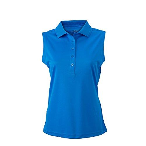 JAMES & NICHOLSON - Polo - Básico - con botones - Sin mangas - para mujer azul cobalto
