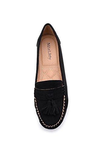 Mila Dame Mlia Dame (yvonne-01) Damesmode Loafer Slip Op Mocassins Rijden Bootschoenen Zwart / Suede