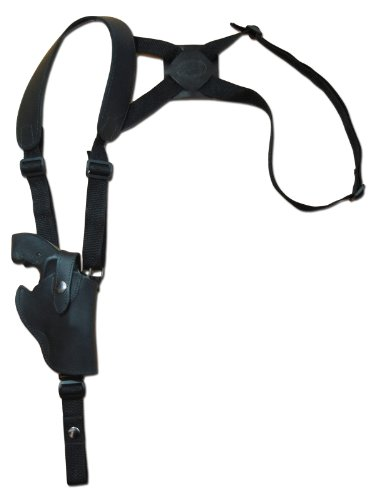 Barsony Black Leather Vertical Cross Harness Shoulder Holster for RUGER LCR 38, 357 right