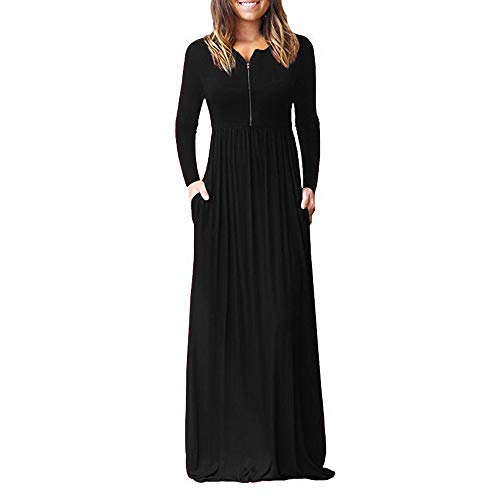 iHPH7 Women's Long Sleeve Loose Plain Pockets Maxi Dresses Casual Zipper Long Dresses