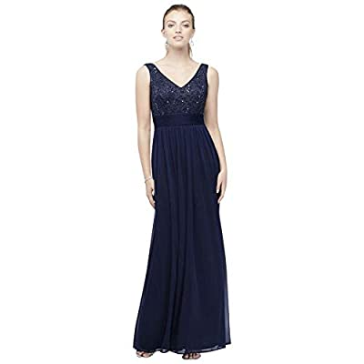 Mesh and Sequin Lace Bridesmaid Dress with Pleated Waist Style W60082