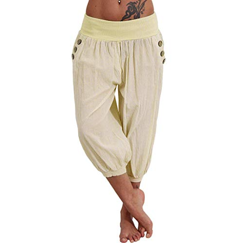 Women Elastic Waist Boho Check Pants Baggy Wide Leg Summer Casual Yoga Capris (Bermuda Shorts Girls Plaid)