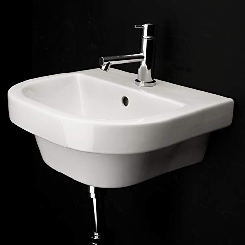 - Wall-mounted or drop-in porcelain lavatory with overflow and three faucet holes in 8