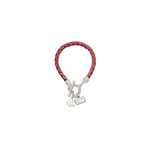 Q Gold MLB Boston Red Sox MLB LogoArt Boston Red Sox Devotion Charm and Crystal Heart Black Leatherette Size One Size
