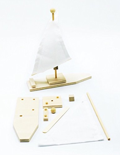 DIY Floating Wood Sail Boat Make Your Own Sailboat Craft Kits for Kids Paint and Decorate Crafts (Pack of 2)