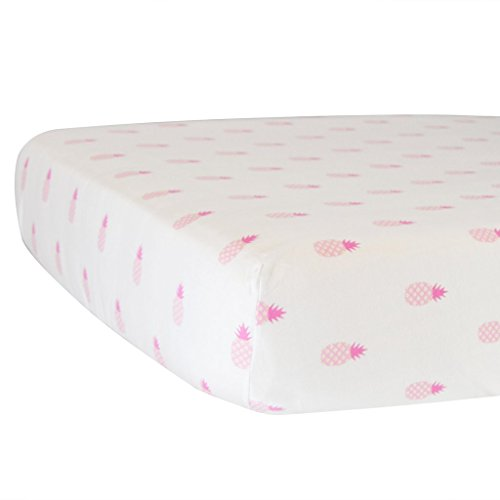 Hello Spud - Pink Pineapples Fitted Crib Sheet Organic Cotton Jersey - Super Soft