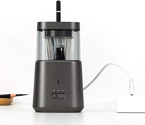 電動鉛筆削りき ポータブル自動スケッチ鉛筆削り多機能USB充電式鉛筆削りのために家庭やオフィスの電気鉛筆削り (Color : Gray, Size : 8.8x8.8x15.4cm)