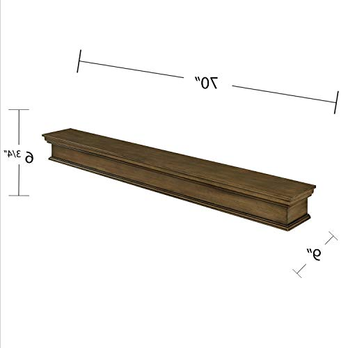 (Adom Floating Mantel Wall Shelf, Traditional, Weathered Gray Oak)