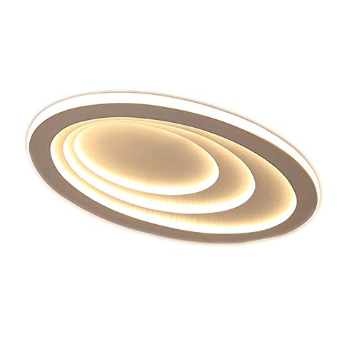 White Ceiling Light Modern 92W LED Ceiling Lamp Creative 3 Ring Oval Design Iron Shade Fixture for Living Room Bedroom Kitchen Dining Room Study Loft Bar Lighting, 3000K Warm - Oval Lamp Iron Floor