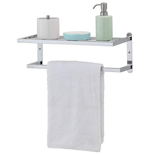 Modern Chrome Plated Wall Mounted 18-Inch Bathroom Storage Shelf & Towel Rack -