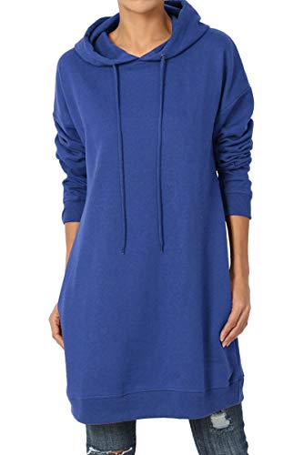TheMogan Women's Hoodie Loose Fit Pocket Tunic Sweatshirts Mid Navy S/M Cotton Blend Fleece Jacket