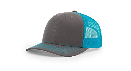 Richardson 112 Mesh Back Trucker Cap Snapback Hat, Charcoal/Neon Blue