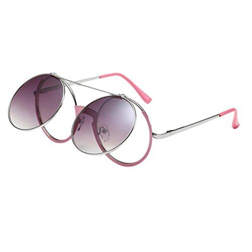 Mujeres para Retro Flip Style Hombres de Gafas Punk de Front Diseño Rock Zhhlaixing Pink Sol OxqaHPSq
