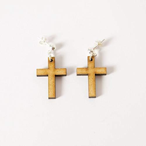 EYA ERO. Pendientes cruz de madera y plata. Pendientes originales. Hecho en España.: Amazon.es: Handmade