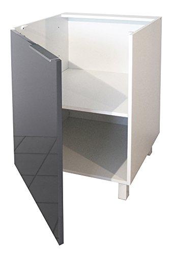 berlenus cp6bg k chenunterschrank 1 t r 60 cm hochglanz grau k chenausstattung. Black Bedroom Furniture Sets. Home Design Ideas
