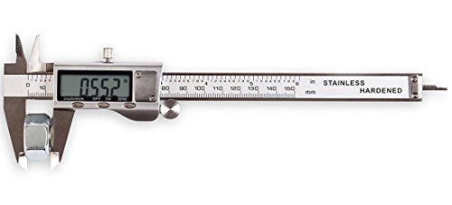 LOUISWARE Electronic Digital Vernier Caliper, with Extra-Large LCD Screen and 150mm 0-6' Inch/Metric/Fraction Conversion, Stainless Steel, IP54 Water Resistant
