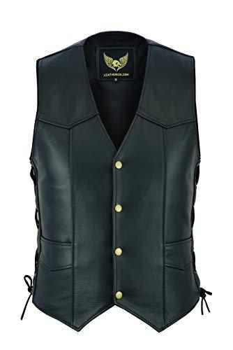 Leatherick heren vest van echt leer met kant in bikerstijl, casual mode