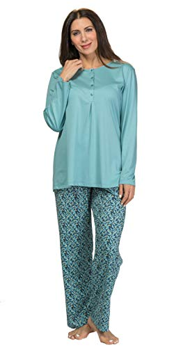Calida 100% Cotton Knit Pajamas - Long Sleeve Printed Set in Blue Lily (Blue/Lily Print, L)