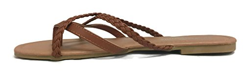 Strappy Flops Tan Cross Girls Straps Alva Club Braided Flip Sandal Double Summer Criss EZHASqH4