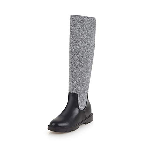 colorful-space Round Toe Low Heel Winter Boots Women Calf Boots Ladies Platform Boots,Silver,11 ()