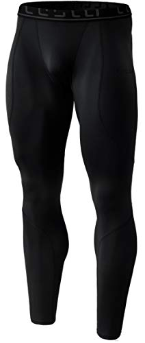 TSLA Men's Thermal Wintergear Compression Baselayer Pants Leggings Tights, Thermal Athletic(yup43) - Black, X-Large ()