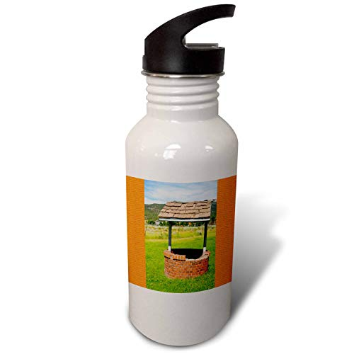 (3dRose Jos Fauxtographee- Wishing Well - A wishing well with an orange frame on both sides - Flip Straw 21oz Water Bottle (wb_288627_2))