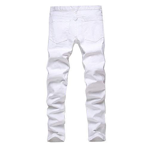 Taglie Comode Cargo Abiti Tinta Unita Biker Casual Denim Slim Uomo Vintage Jeans Fashion Da Strappato Skinny White06 Pantaloni Pants px0q8qw7
