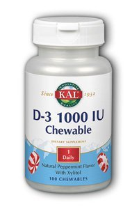 100 Chewable Softgels (KAL D-3 1000 IU Chewable Softgels, Peppermint, 100 Count)