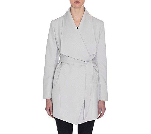 (T Tahari Women's Abbey Draped Trench Wrap Coat, Silver Drop XS)