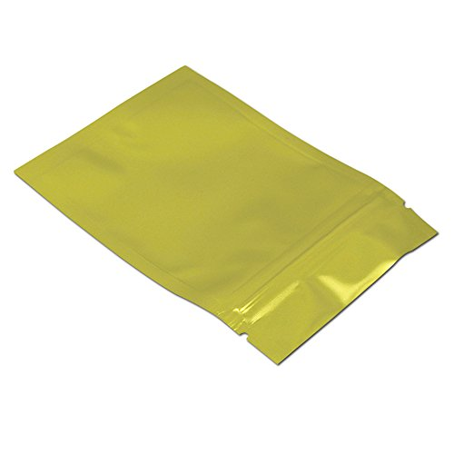 100Pcs 14x20cm (5.5x7.9 inch) Gold Aluminum Mylar Foil Packaging Bags Zip Lock Food Long Term Storage Resealable Storage Pouch Retail by FERENLI (Image #3)