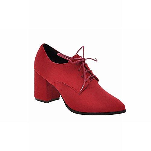Latasa Moda Mujer Nubuck Con Cordones Mid Chunky Heel Oxfords Zapatos Rojo