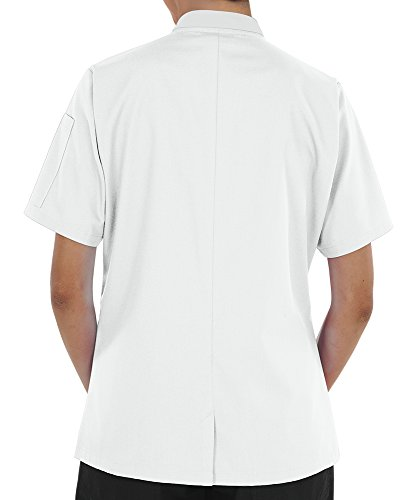 Women's Lightweight Short Sleeve Chef Coat (XS-3X, 3 Colors) (Medium, White) by ChefUniforms.com (Image #2)