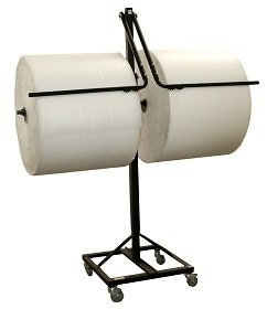 12'' Telescoping Double Arm Bubble Wrap® & Foam Roll Floor Unit Dispenser w/ Casters & Tear Tag by FastPack Packaging