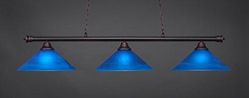 (Toltec Lighting 373-DG-415 Oxford - Three Light Billiard, Dark Granite Finish with Blue Italian Glass)