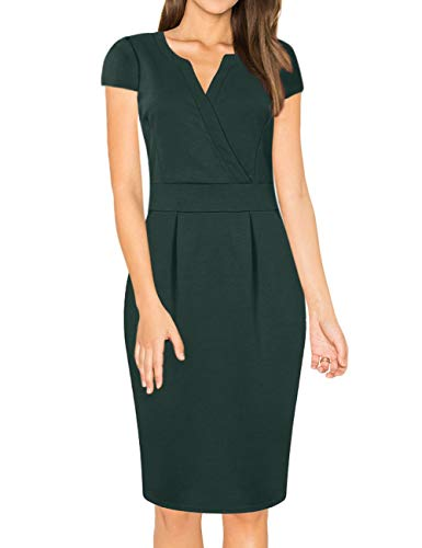 HiQueen Women's Business Short Sleeves Cocktail Party Pencil Dress Dark Green M