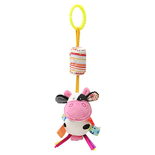 Bluelans Baby Pram Pushchair Stroller Toys, Cute Cartoon Animal Newborn Baby Bed Cot Crib Hanging Rattle Toys Infant Activity Plush Toy for Toddlers Boy Girls Xmas Birthday Gift Stocking Fillers Cow