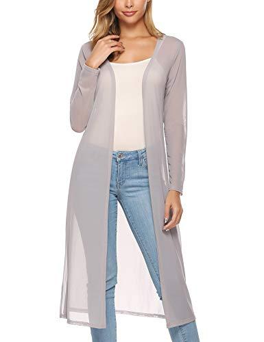 Abollria Women's Long Sleeve Open Front Drape Duster Maxi Long Cardigan - Short Drape Front