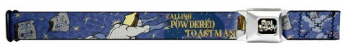 Buckle-Down Seatbelt Belt - Powdered Toastman in Sky CALLING POWDERED TOASTMAN! Blue/Yellow - 1.5