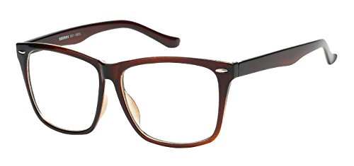 5zero1 Fake Glasses Big Frame Nerd Party Men Women Fashion Classic Retro Eyeglasses, Brown (Brown Glasses Hipster)