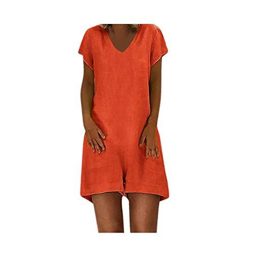 Women's one Piece Playsuit Summer V Neck Short Sve Zipper Jumpsuit A-line Shorts Rompers with Pockets Orange