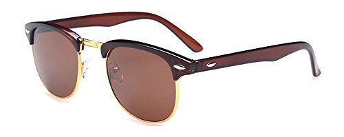 Outray Vintage Half Frame Horn Rimmed With Metal Rivets Sunglasses 2142a2 Brown
